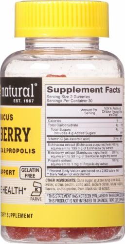 Mason Natural Raspberry Flavor Sambucus Elderberry Supplement Gummies Perspective: back