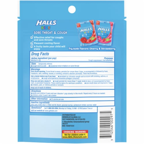 HALLS Kids Cherry Flavor Sore Throat & Cough Suppressant Menthol Pops Perspective: back