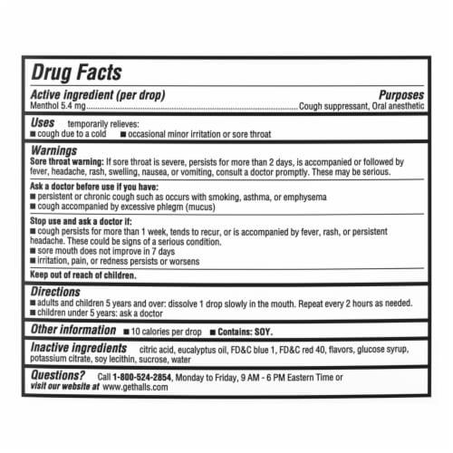HALLS Relief Mentho-Lyptus Flavor Cough Drops 80 Count Perspective: back