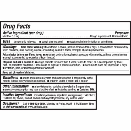 HALLS Relief Sugar Free Black Cherry Flavor Cough Suppressant Drops 25 Count Perspective: back