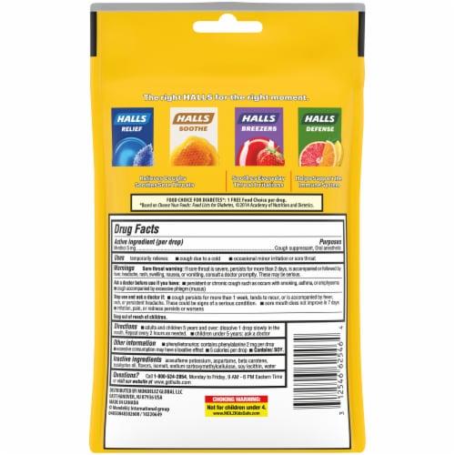 Halls Sugar Free Citrus Blend Flavored Cough Suppressant Drops Perspective: back