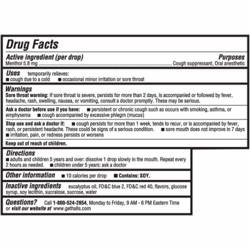 HALLS Relief Cherry Flavor Cough Suppressant Drops 30 Count Perspective: back