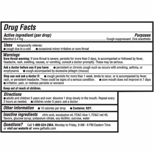 HALLS Relief Mentho-Lyptus Flavored Cough Suppressant Drops Perspective: back