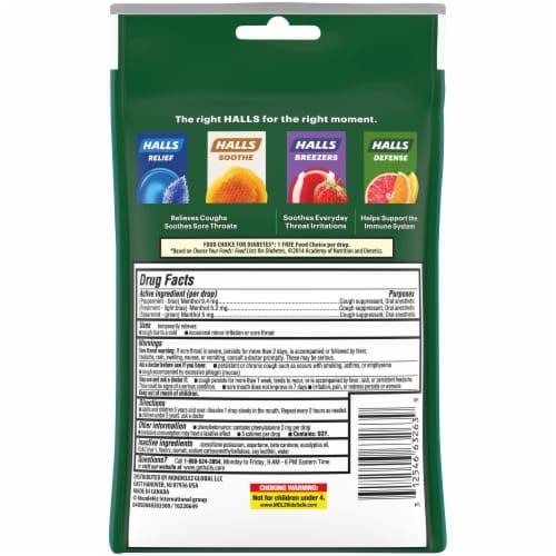 HALLS Relief Sugar Free Assorted Mint Flavor Cough Suppressant Drops Perspective: back