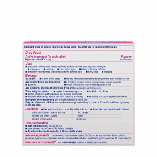Benadryl Allergy Ultratabs Tablets 25mg Perspective: back