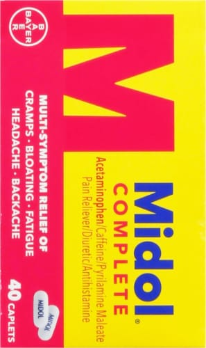 Midol® Complete Menstrual Pain Relief Caplets with Acetaminophen for Symptom Relief Perspective: back