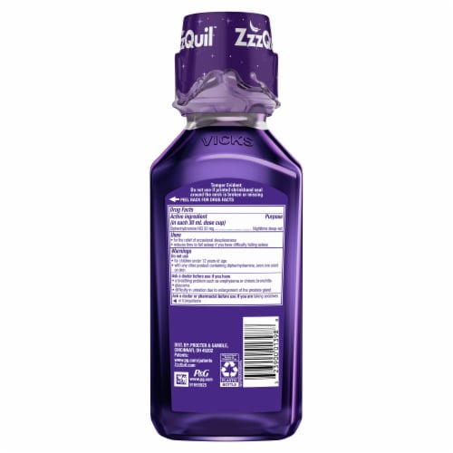 Vicks ZzzQuil Warming Berry Nighttime Sleep-Aid Liquid Perspective: back
