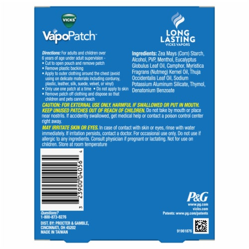 Vicks VapoPatch Soothing Vapors Wearable Aroma Patches Perspective: back