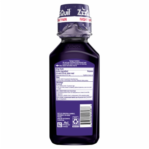Vicks ZzzQuil Night Pain Midnight Berry Flavor Nighttime Sleep-Aid Pain Reliever Perspective: back