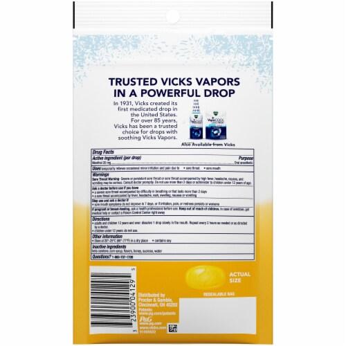 Vicks VapoCOOL SEVEREHoney Lemon Medicated Lozenges Cough Drops Perspective: back