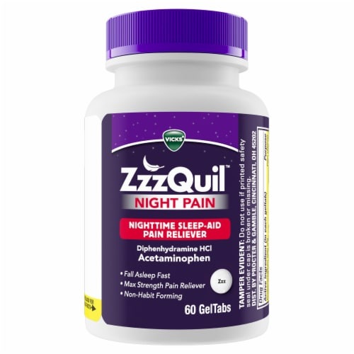 Vicks ZzzQuil Nighttime Pain Relief Sleep Aid GelTabs Perspective: back