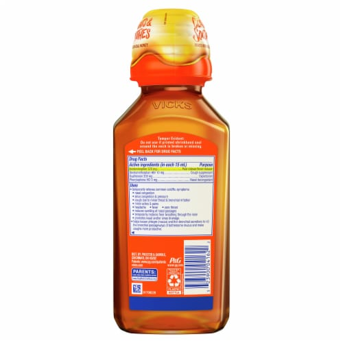 Vicks DayQuil SEVERE Honey Cold & Flu Multi-symptom Daytime Relief Medicine Max Strength Liquid Perspective: back