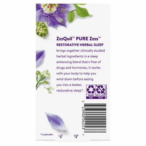 Vicks ZzzQuil Pure Zzz's Restorative Herbal Sleep Tablets Perspective: back