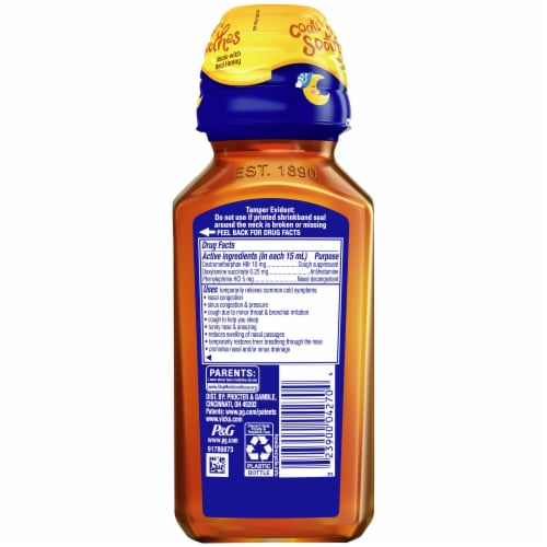 NyQuil Kids Honey Cold & Cough + Congestion Nighttime Relief Liquid Perspective: back