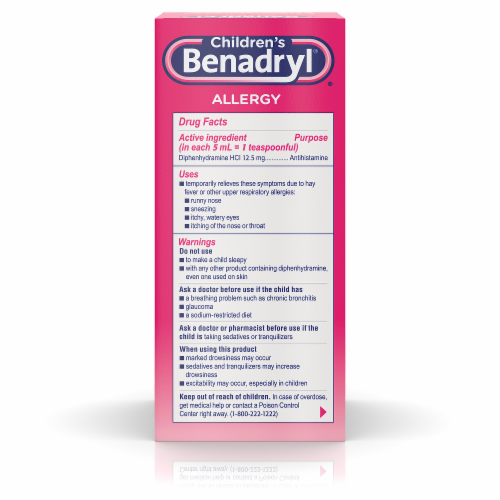 Children's Benadryl Cherry Flavored Allergy Relief Liquid Perspective: back