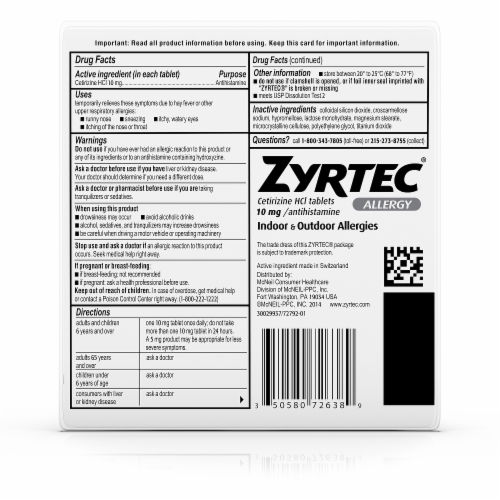 Zyrtec 24-Hour Indoor & Outdoor Allergy Relief Tablets 10mg Perspective: back