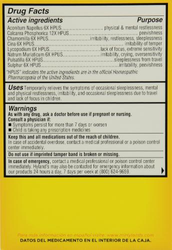 Hyland's 4 Kids Calm 'n Restful Sleep Supplement Tablets Perspective: back
