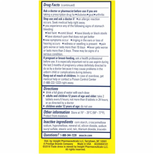 Anacin Aspirin Fast Pain Relief Coated Tablets Perspective: back