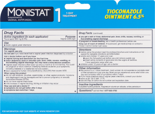 Monistat 1-Day Yeast Infection Treatment Prefilled Tioconazole Ointment Perspective: back