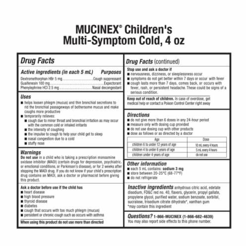 Mucinex Children's Multi-Symptom Very Berry Flavor Cold Liquid Perspective: back