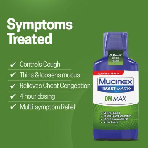 Mucinex Maximum Strength Fast-Max DM Cough & Chest Congestion Medicine Liquid Perspective: back