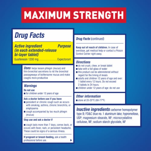 Mucinex Maximum Strength 12-Hour Chest Congestion Expectorant Relief Medicine 1200mg Tablets Perspective: back