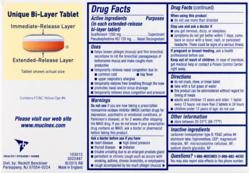 Mucinex D Expectorant & Nasal Decongestant 1200mg Tablets Perspective: back