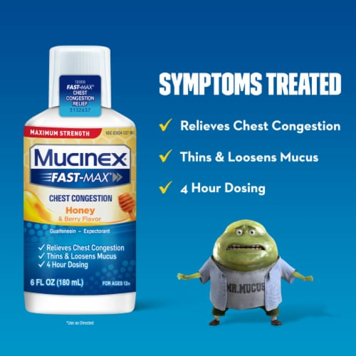 Mucinex FastMax Honey & Berry Flavor Chest Congestion Liquid Perspective: back