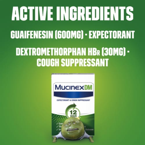 Mucinex DM 12 Hr Relief Expectorant and Cough Suppressant Medicine Extended Release Bi-Layer Tablets Perspective: back