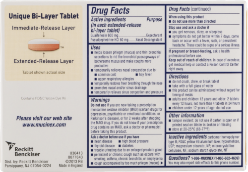 Mucinex D Expectorant & Nasal Decongestant 600mg Tablets Perspective: back