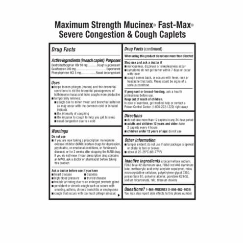 Mucinex Fast-Max Adult Severe Congestion and Cough Multi-Symptom Relief Medicine Caplets Perspective: back