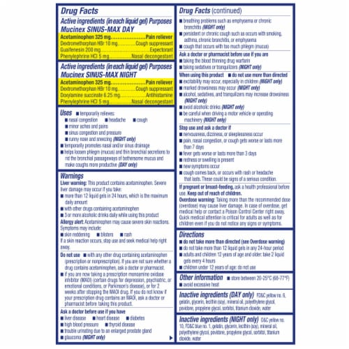 Mucinex Sinus-Max Max Strength Day & Night Sinus Pressure and Congestion Medicine Caplets Perspective: back