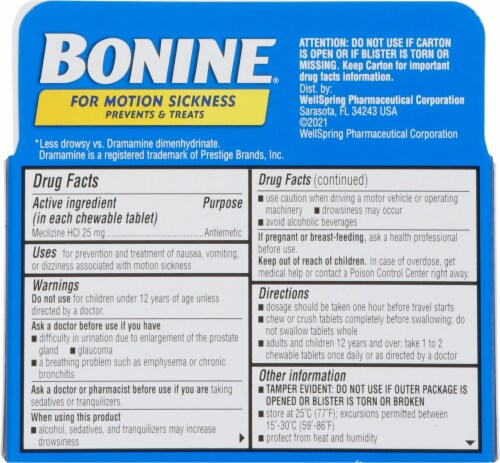 Bonine Adult Motion Sickness Raspberry Flavored Chewable Tablets Perspective: back
