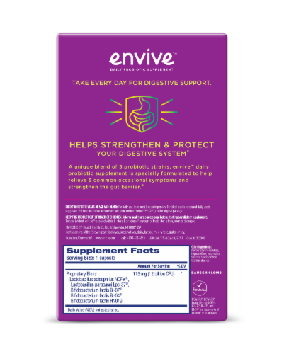 Envive Probiotic Supplement Capsules 115mg Perspective: back