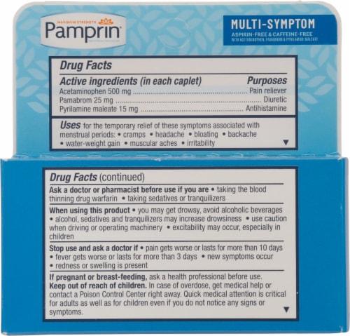 Pamprin Multi-Symptom Caplets Perspective: back