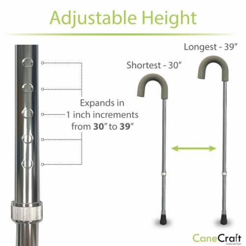 Foam Grip Round Handle Adjustable Walking Cane - Chrome Perspective: back