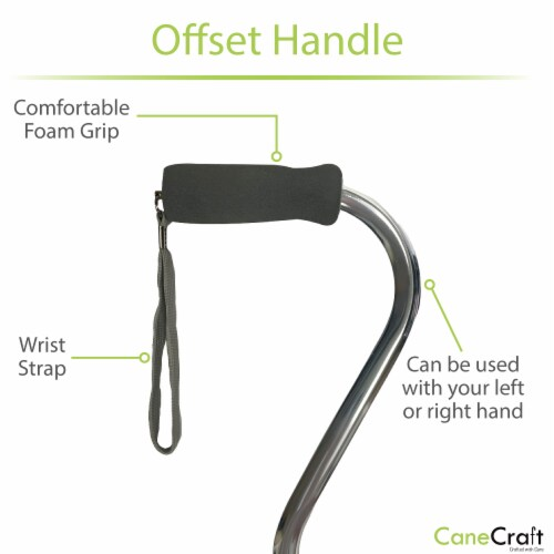 Offset Handle Adjustable Walking Canes with Soft Foam Grip - Silver Perspective: back