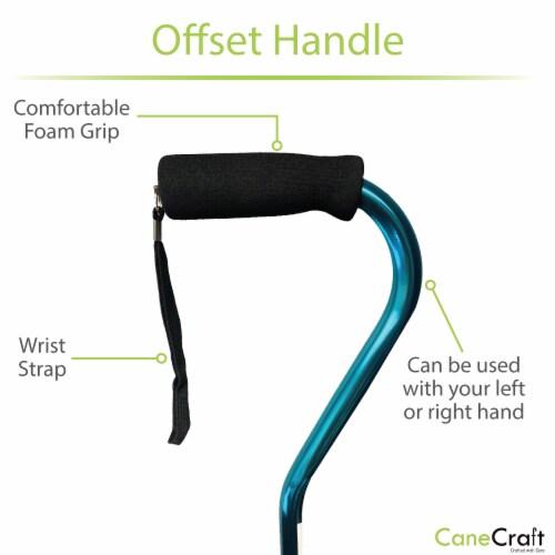 Offset Handle Adjustable Walking Cane with Soft Foam Grip - Blue Perspective: back