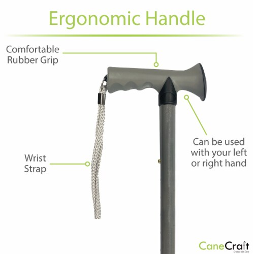 T-Handle Adjustable Folding Cane - Pearl Grey Perspective: back