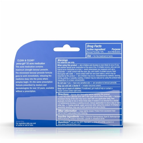 Clean & Clear Persa-Gel 10 Maximum Strength Acne Medicaition Perspective: back