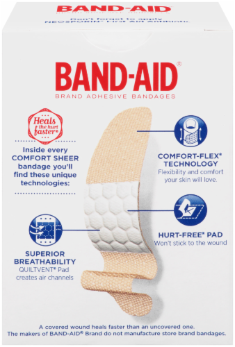 Band-Aid Comfort Sheer Strips Bandages Perspective: back