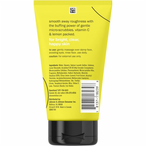 Clean & Clear Lemon Zesty Facial Scrub Perspective: back