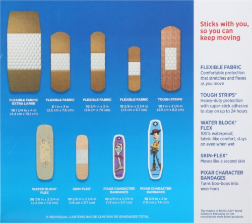 Band-Aid Toy Story Assorted Sizes Adhesive Bandages Family Pack Perspective: back