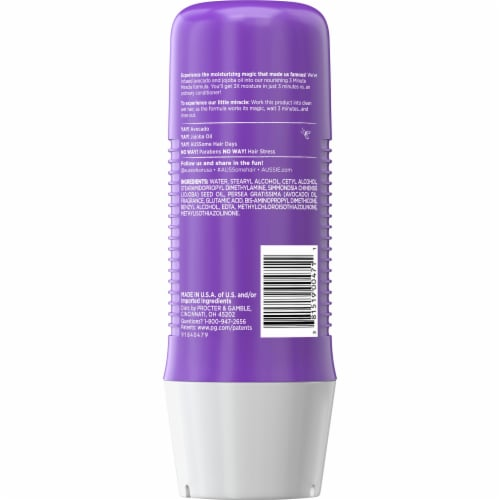 Aussie Paraben-Free Miracle Moist 3 Minute Miracle with Avocado for Dry Hair Repair Perspective: back