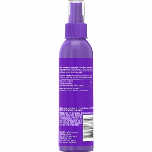 Aussie Miracle Curls Maximum Hold Coconut & Jojoba Oil Curl Refresher Spray Perspective: back