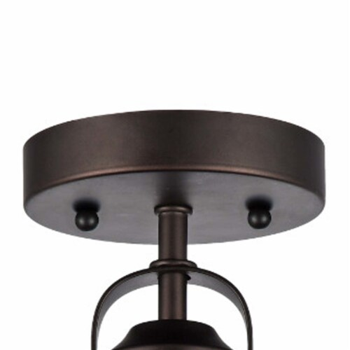 IRONCLAD Industrial-style 1 Light Rubbed Bronze Semi-flush Ceiling Fixture 9  Shade Perspective: back