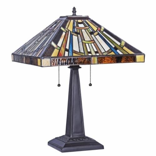 "CHLOE Lighting FALKNER Tiffany-style Victorian 2 Light Table Lamp 16"" Wide Perspective: back"
