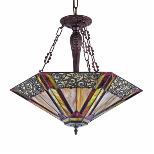 """CHLOE Lighting EVELYN Tiffany-style 3 light Ceiling Pendant 24"""" Shade Perspective: back"""