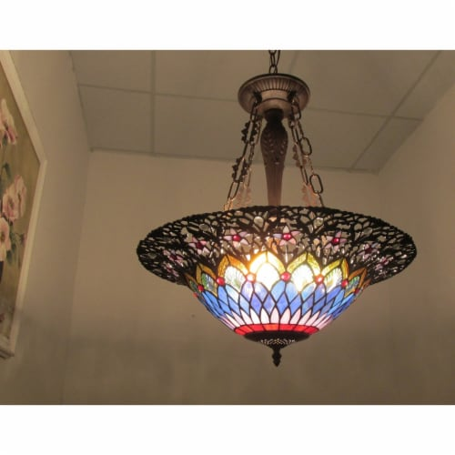 CAMILA Tiffany-style 3 Light Inverted Ceiling Pendant 21  Shade Perspective: back
