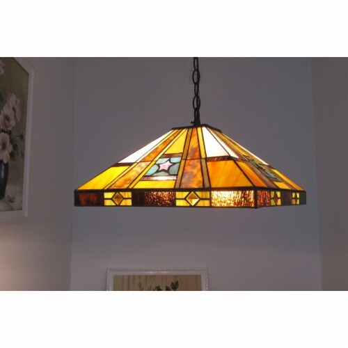 ELY Tiffany-style 2 Light Hanging Pendant Fixture 16  Shade Perspective: back
